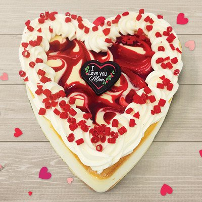 White Chocolate Strawberry Mothers Day Heart Cheesecake
